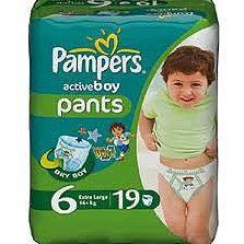 Pampers Active Boy Pants 6 Extra Large, pieluchomajtki dla chłopców 16+ kg, 19 szt. Image