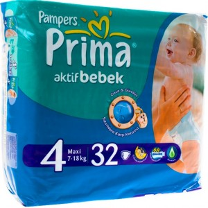 Pampers Prima Aktif Bebek 4 Maxi, pieluchy 7-18 kg, 32 szt. Image