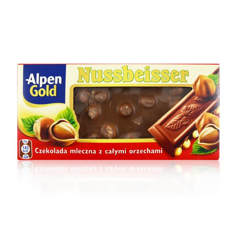 Alpen Gold Nussbeiser, czekolada mleczna z całymi orzechami laskowymi, 100 g Image