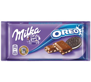 Milka Oreo, czekolada mleczna z nadzieniem waniliowym i herbatnikami kakaowymi, 100 g Image