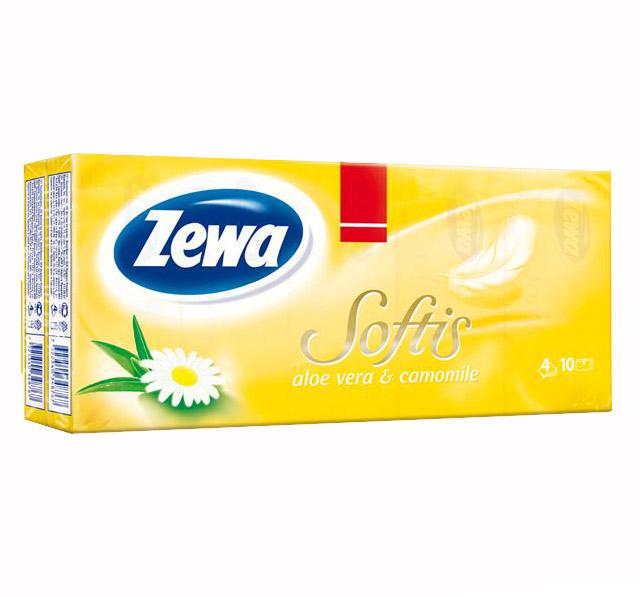Zewa Softis Aloe Vera & Canomille, chusteczki higieniczne czterowarstwowe o zapachu aloesu i rumianku, 10 paczek Image