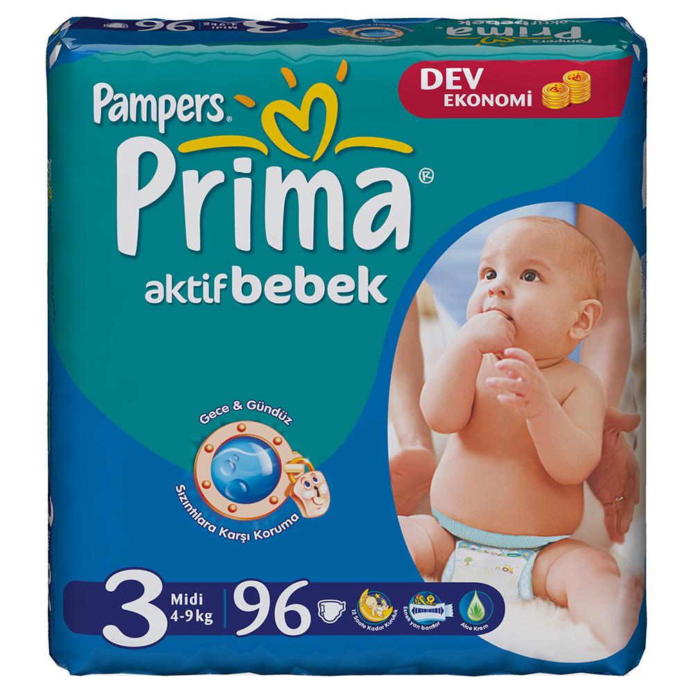 Pampers Prima Aktif Bebek 3 Midi, pieluchy 4-9 kg, 96 szt. Image