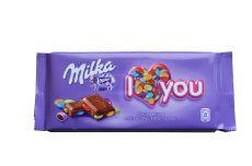 Milka I Love You, czekolada mleczna z kolorowymi drażetkami, 100 g Image