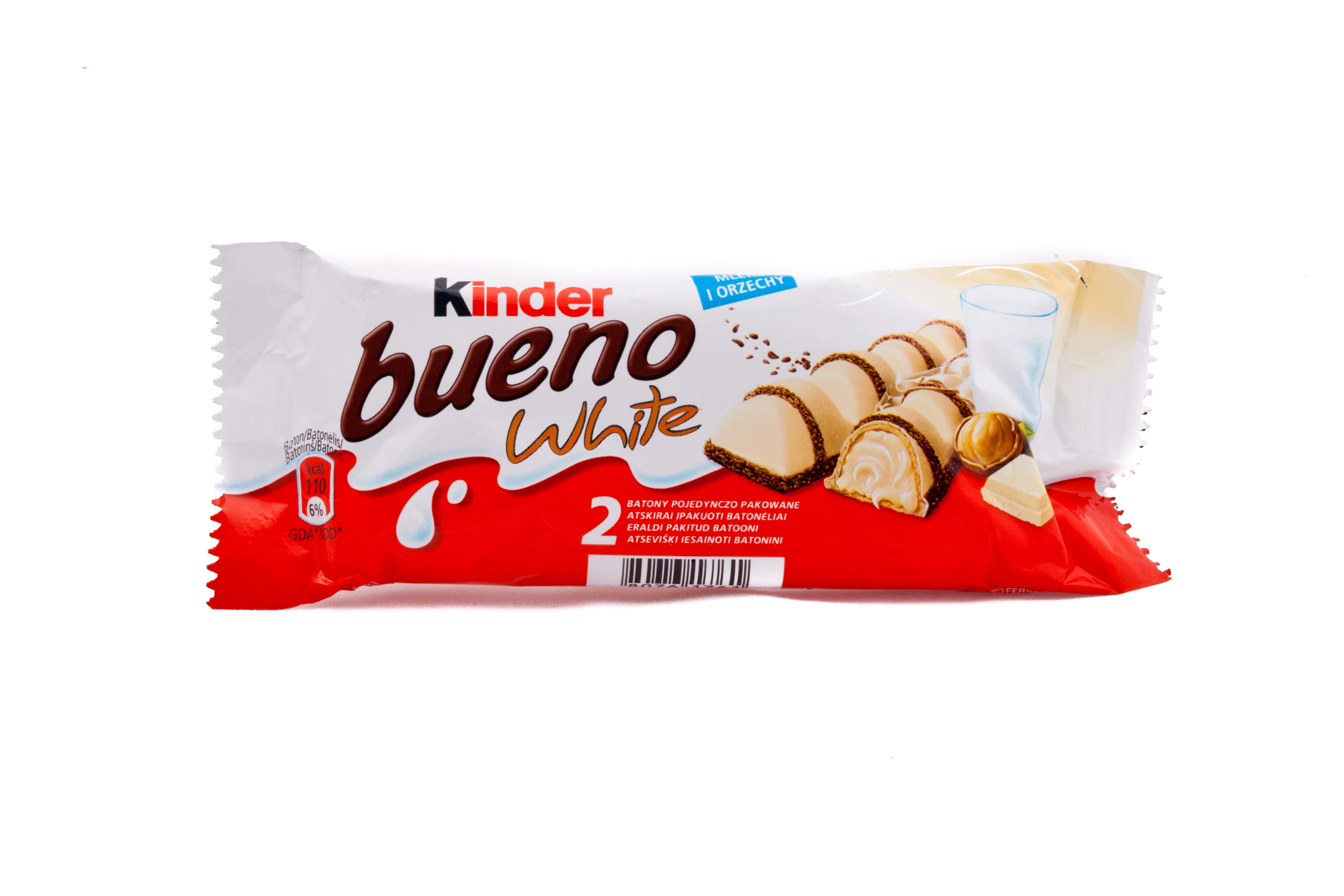 Kinder Bueno White, wafel z nadzieniem pokryty białą czekoladą 2 sztuki, 39 g Image